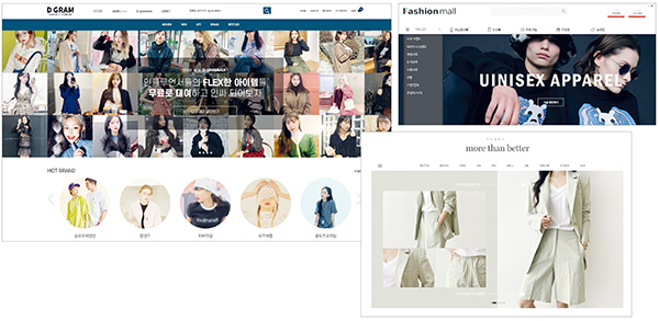 온라인 쇼핑몰 구축 토탈서비스 및 멀티호밍 서비스. 왼쪽부터 '디그램', '패션몰', '모어댄베러'