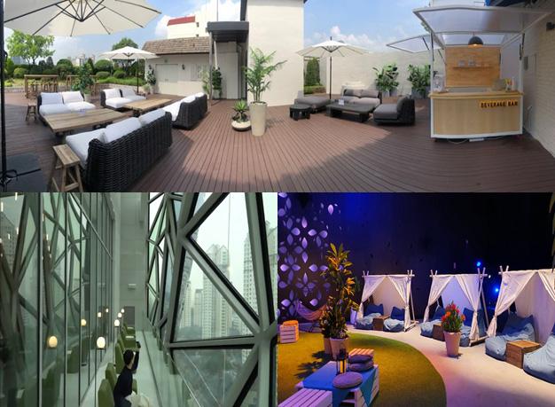 갤러리아백화점은 코로나 19 여파로 국내외 여행 대신 홈캉스, 백캉스를 선택한 고객들을 위해 특별한 여름 휴게 공간을 마련했다. (상단) 갤러리아 명품관 (하단 좌측) 갤러리아 광교 (하단 우측) 갤러리아 센터시티