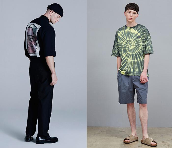 왼쪽부터 '티아이포맨' 아트웍 럭비 티셔츠, '코모도' 타이다잉 티셔츠