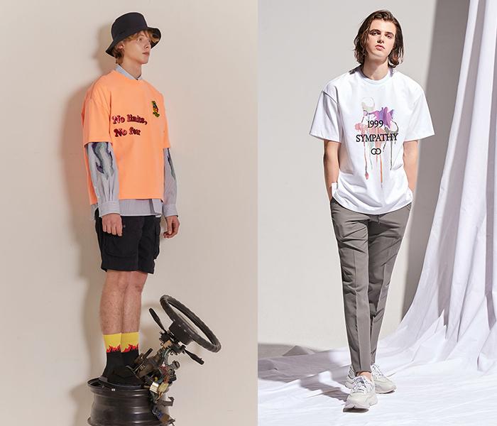 왼쪽부터 '커스텀멜로우' 블랙라벨 티셔츠, '본' 매그넘 티셔츠